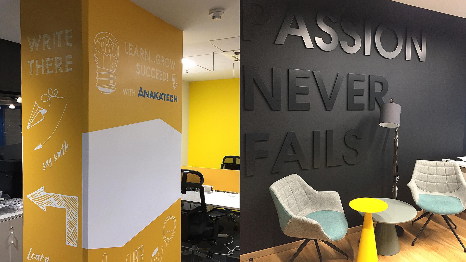 office branding, volume letters