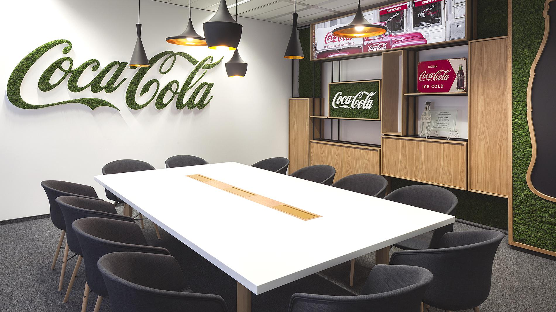 Coca-Cola interior design and branding, moss sign