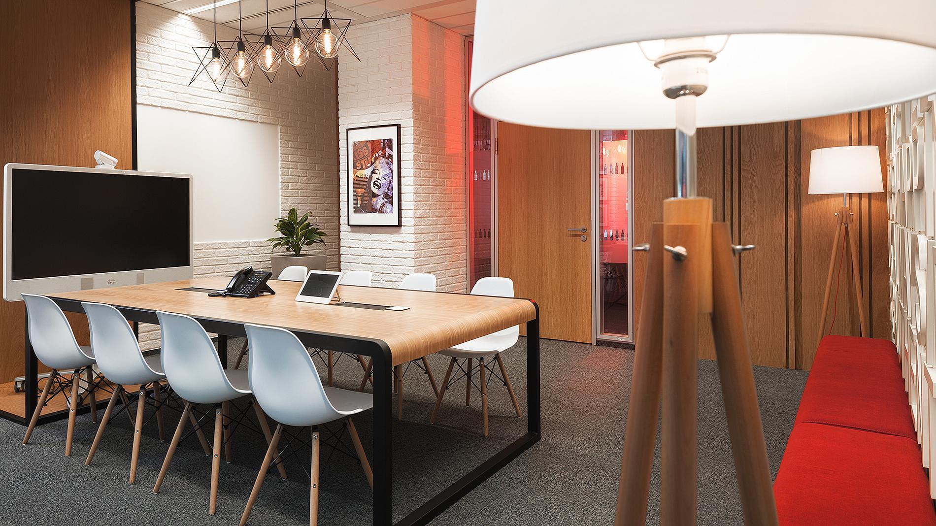 Coca-Cola interior design and branding, custom made desk