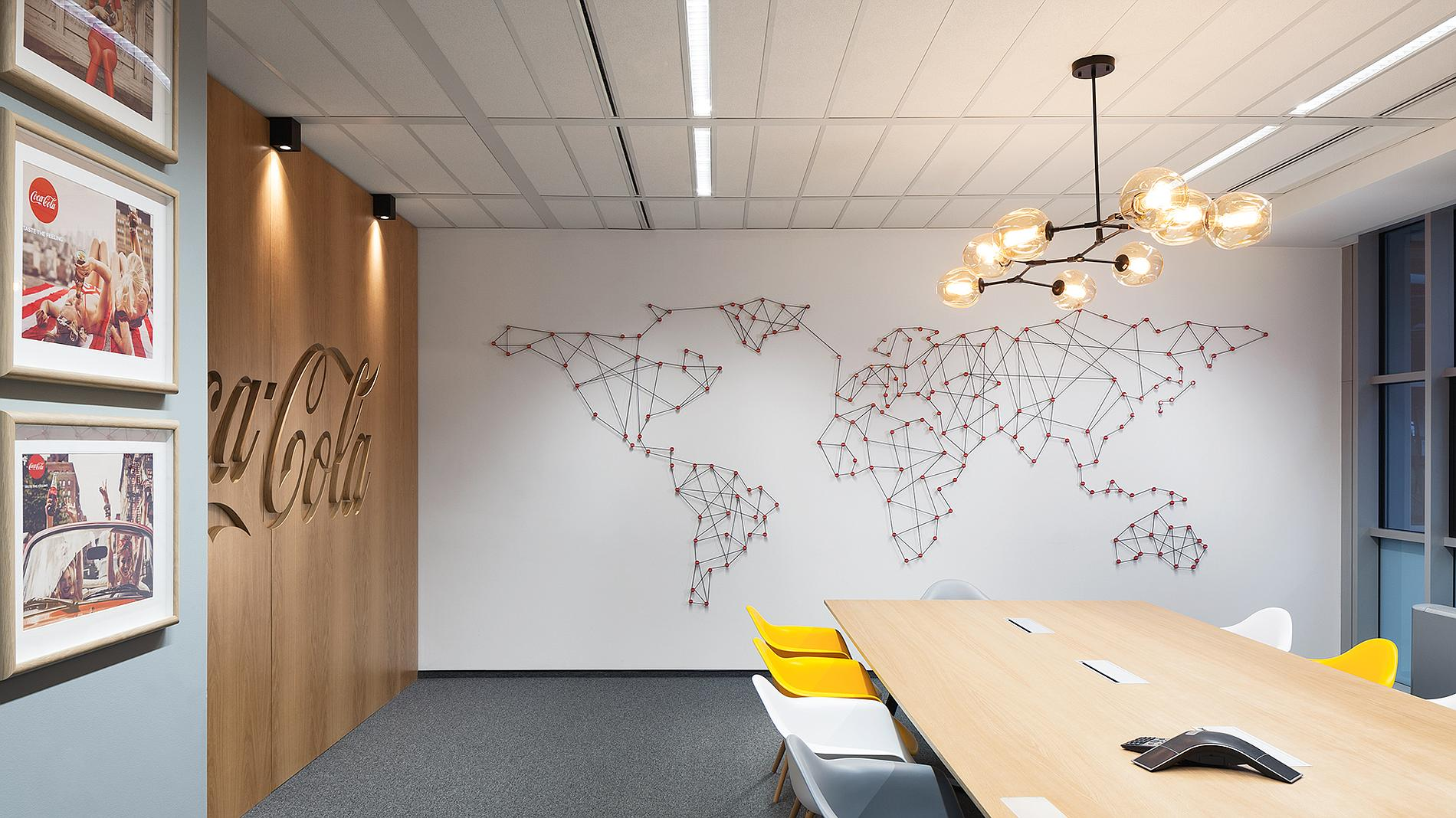 Coca-Cola interior design and branding, wood wall