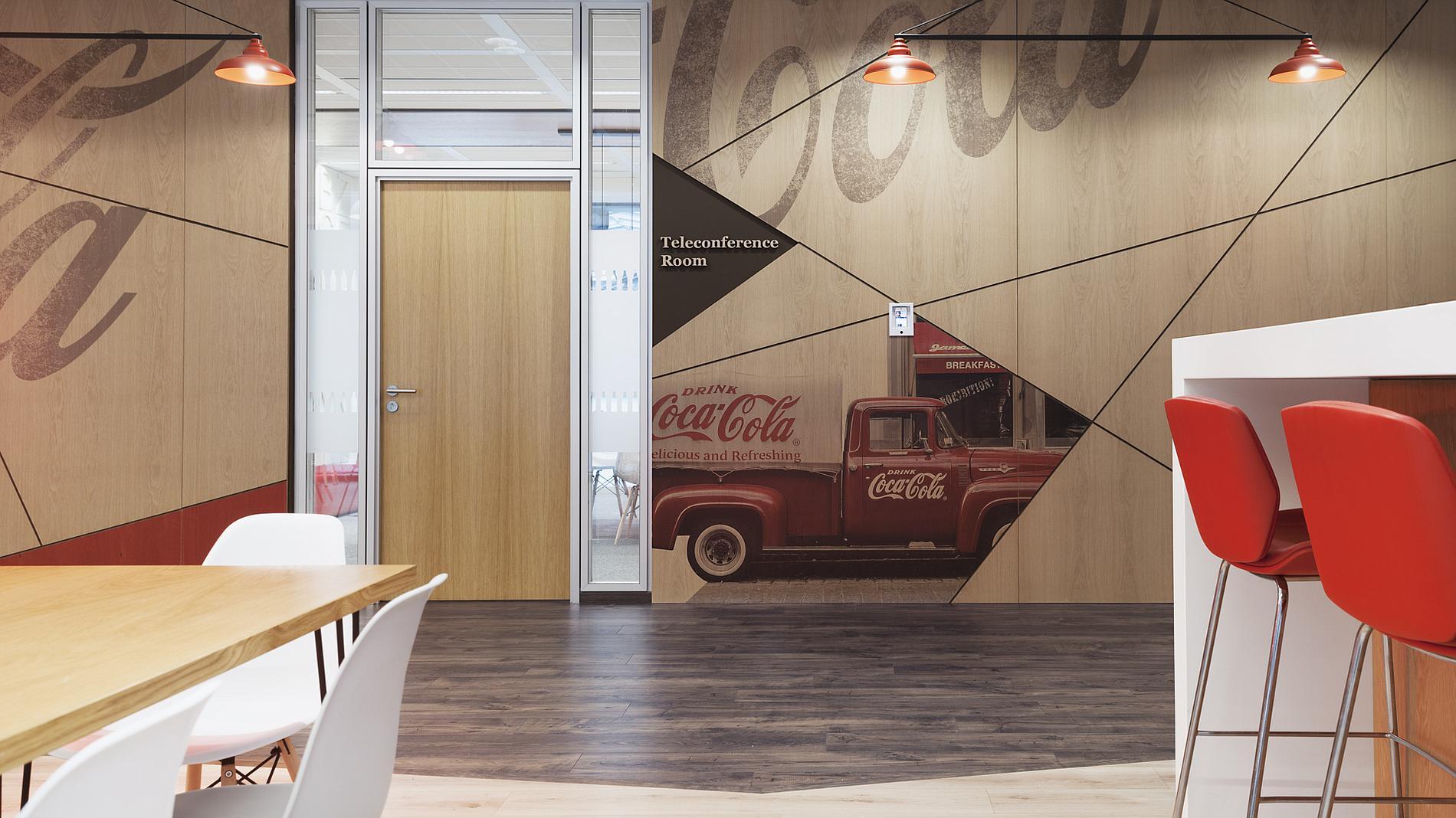 Coca-Cola interior design and branding, wood wall cladding