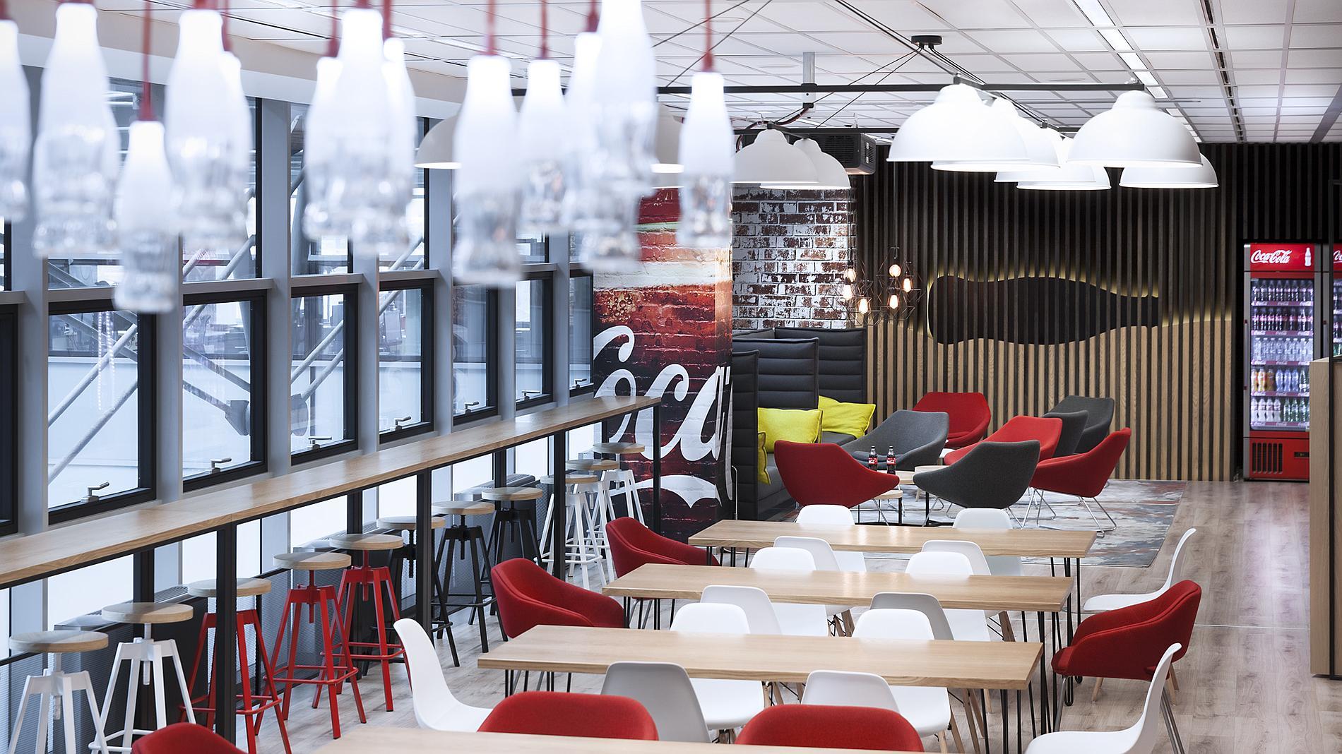 Coca-Cola interior design and branding, custom made lighting, wood wall, Coca-Cola bottle