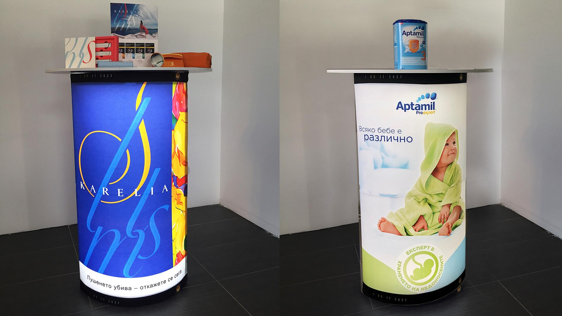 illuminated, portable counter display