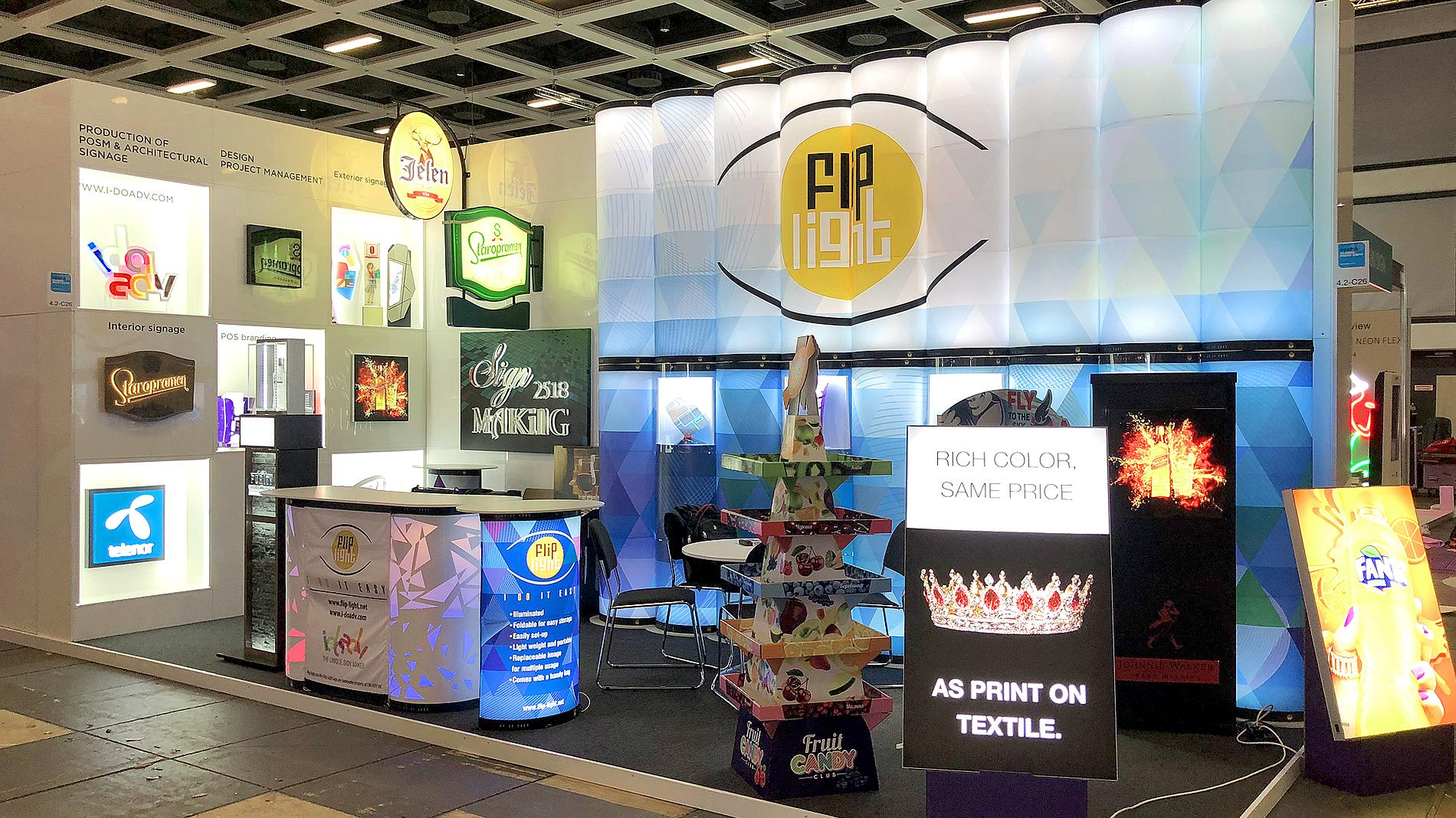 exhibition stand, POS materials, signs, design and production, Flip Light