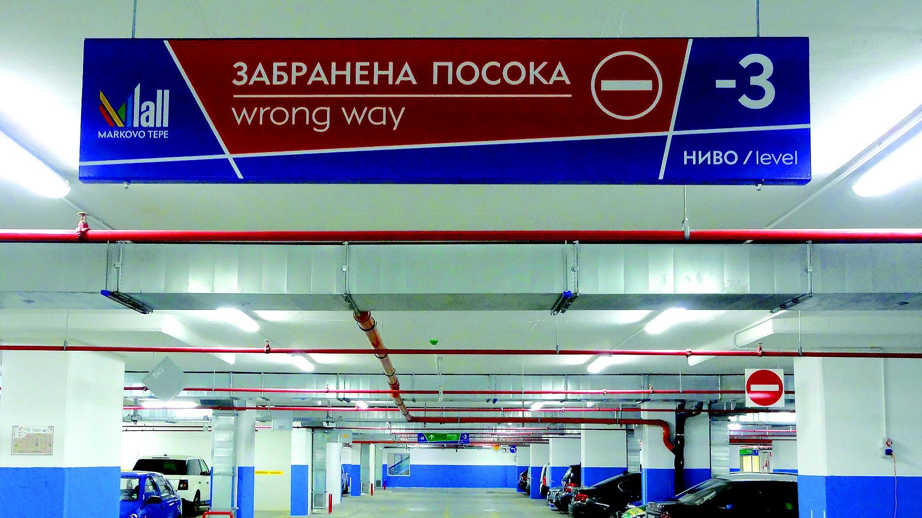 Mall Markovo Tepe - navigation parking signs