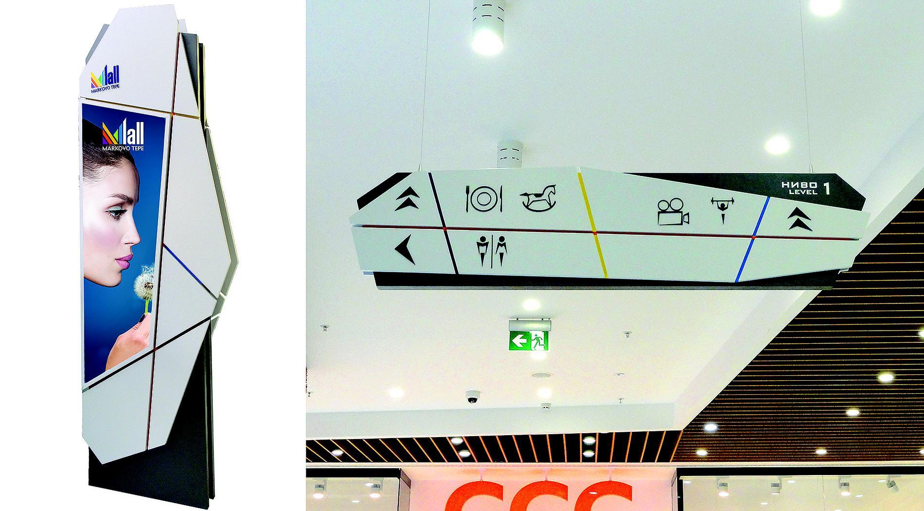 Mall Markovo Tepe - interior signage and wayfinding signs