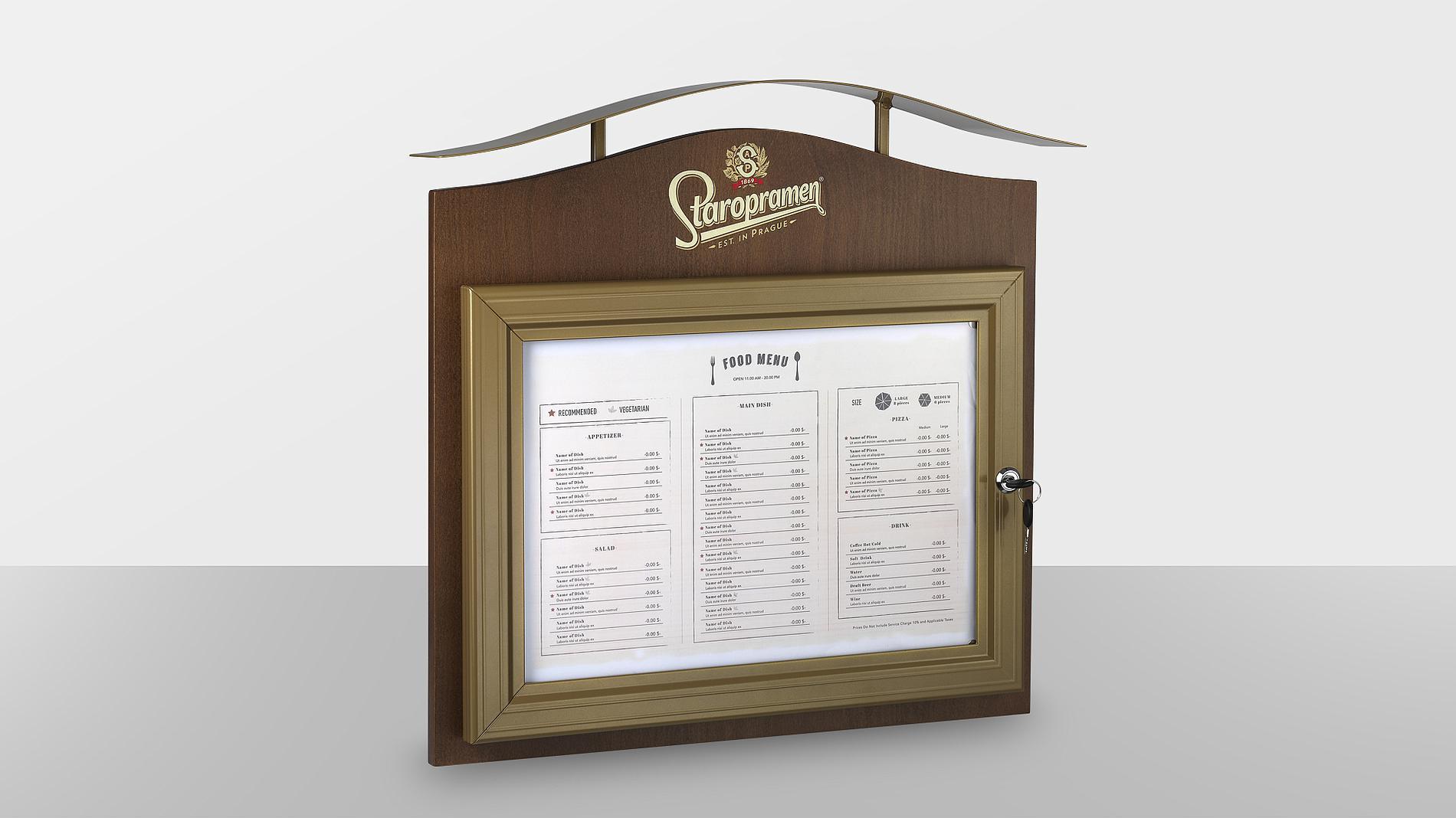 exterior menu Staropramen, POS materials