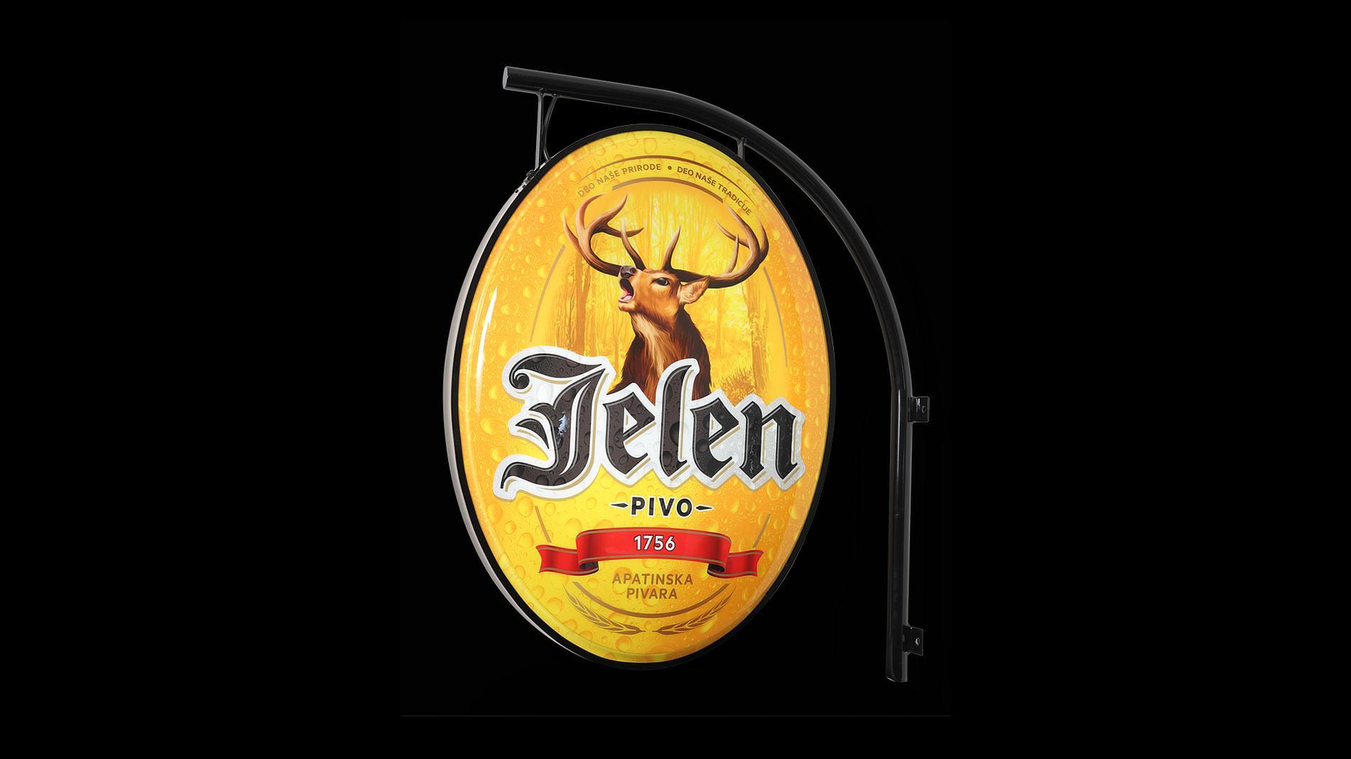 exterior lightbox Jelen, POS materials