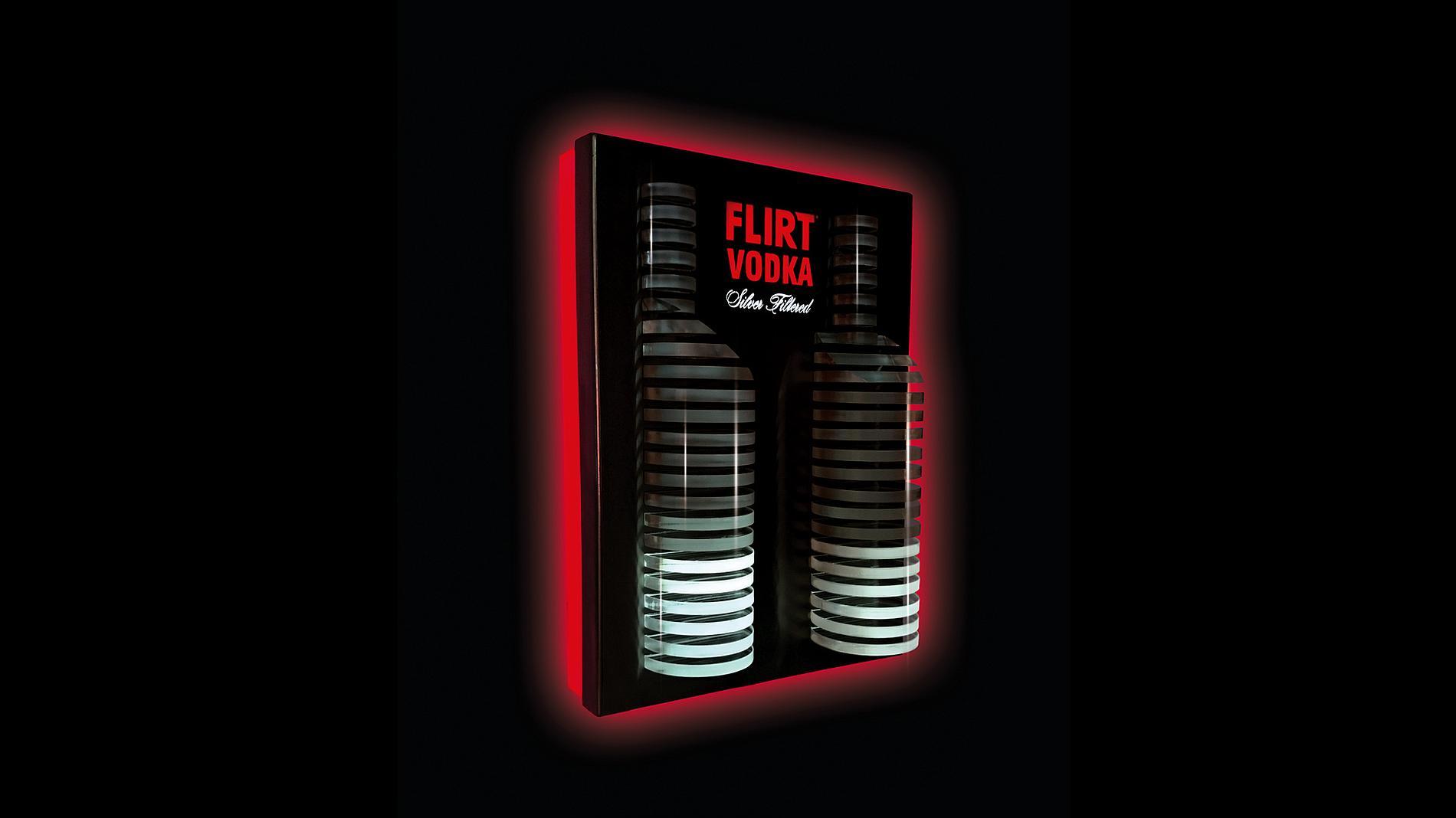 illuminated display, POS material, vodka Flirt, equalizer