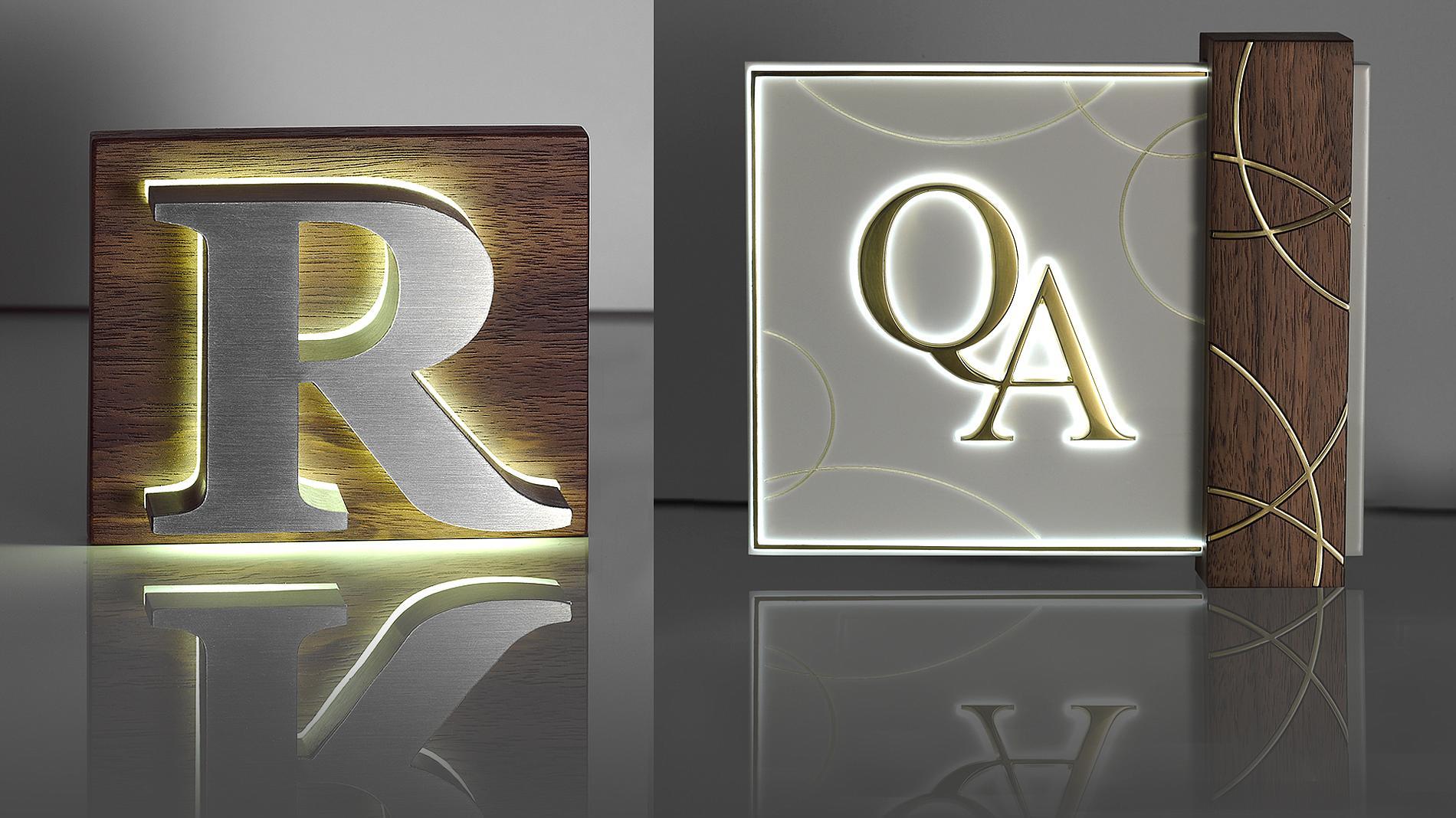 illuminated signs, wood, brass, stainless steel, volume print