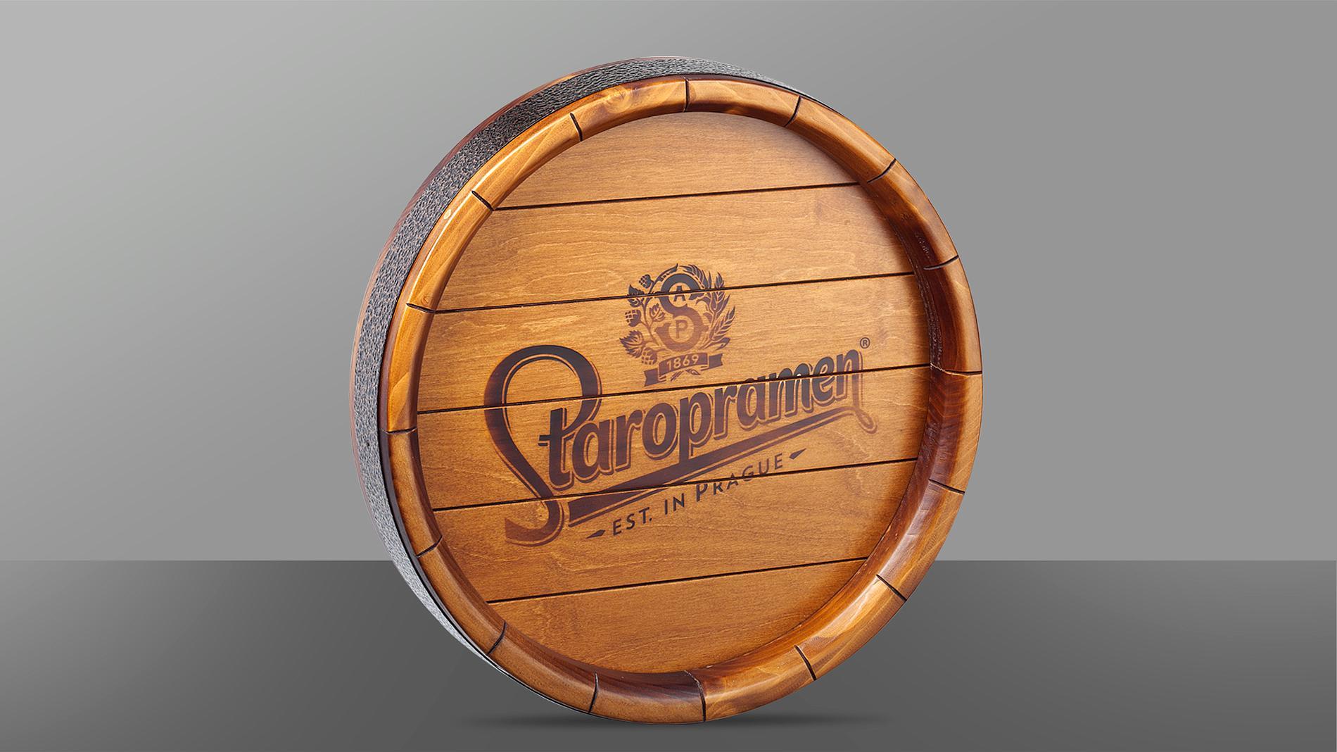 wooden keg Staropramen, POS materials